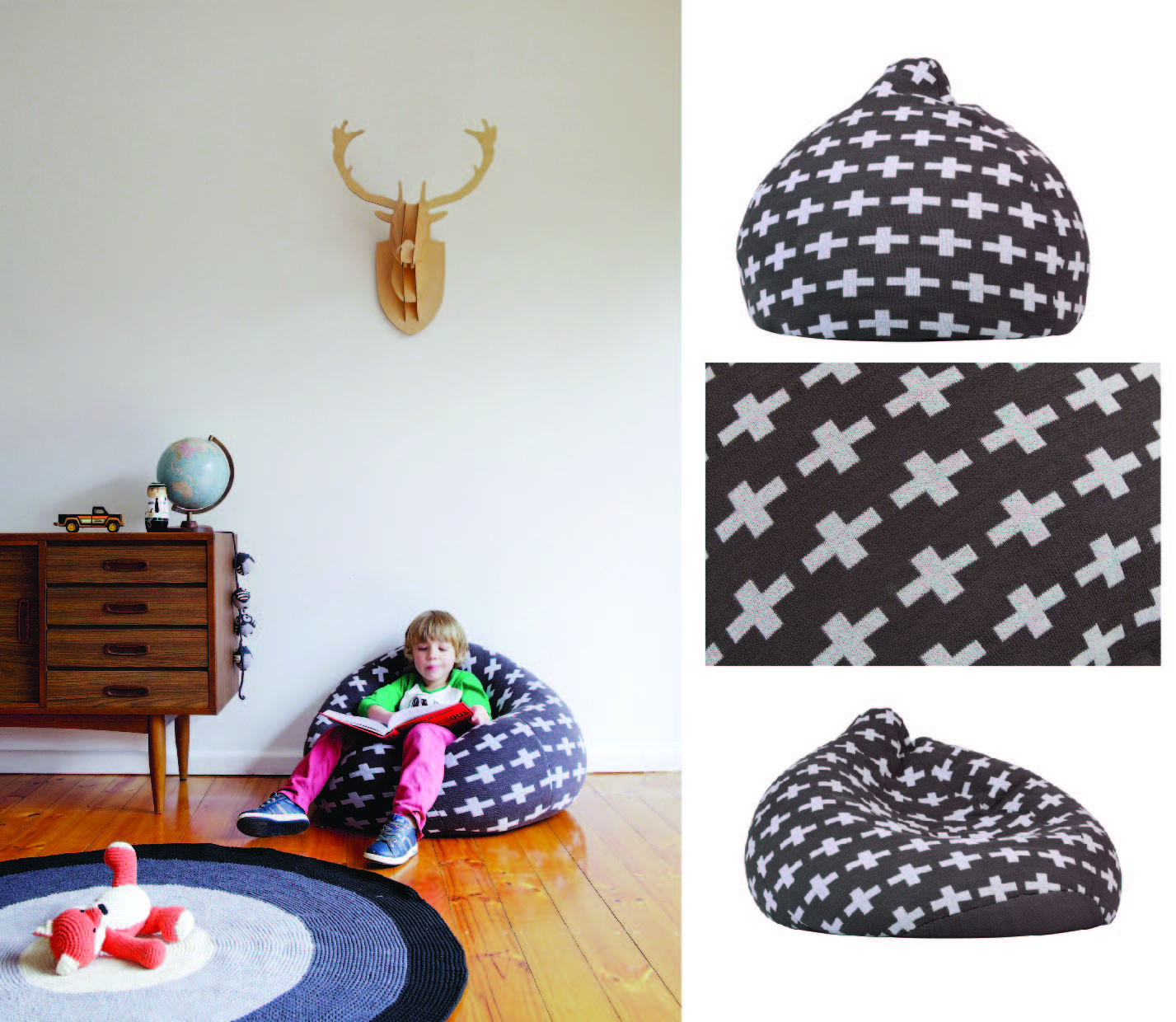 knitted boys bean bag