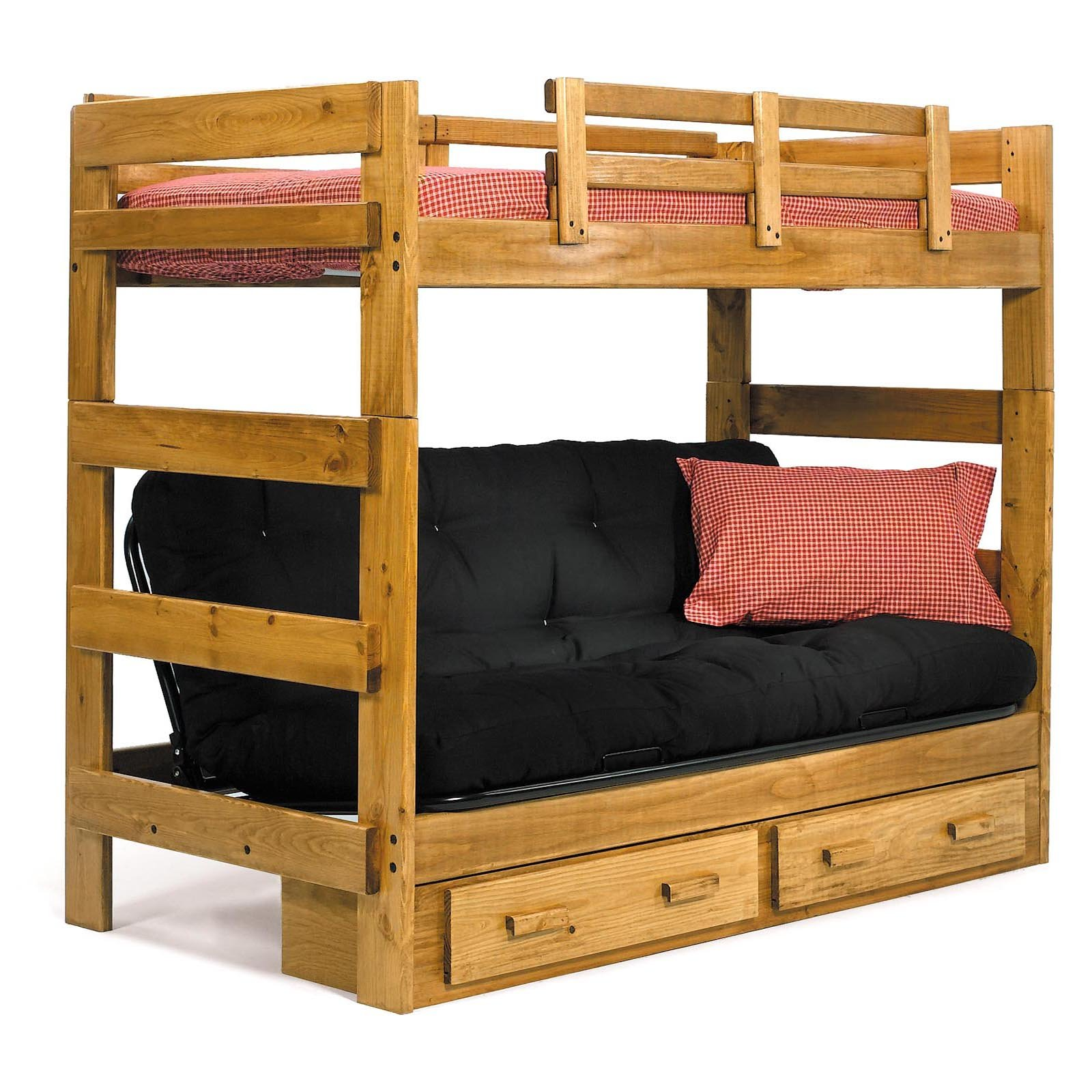 Amazing-Beautiful-And-Unique-Wooden-Storage-In-Bedroom-Design-Ideas-With-Simple-Wooden-Bunk-Bed-With-Black-Sofa-And-Hidden-Storage-For-Best-Bedroom-Furnitures-Design-