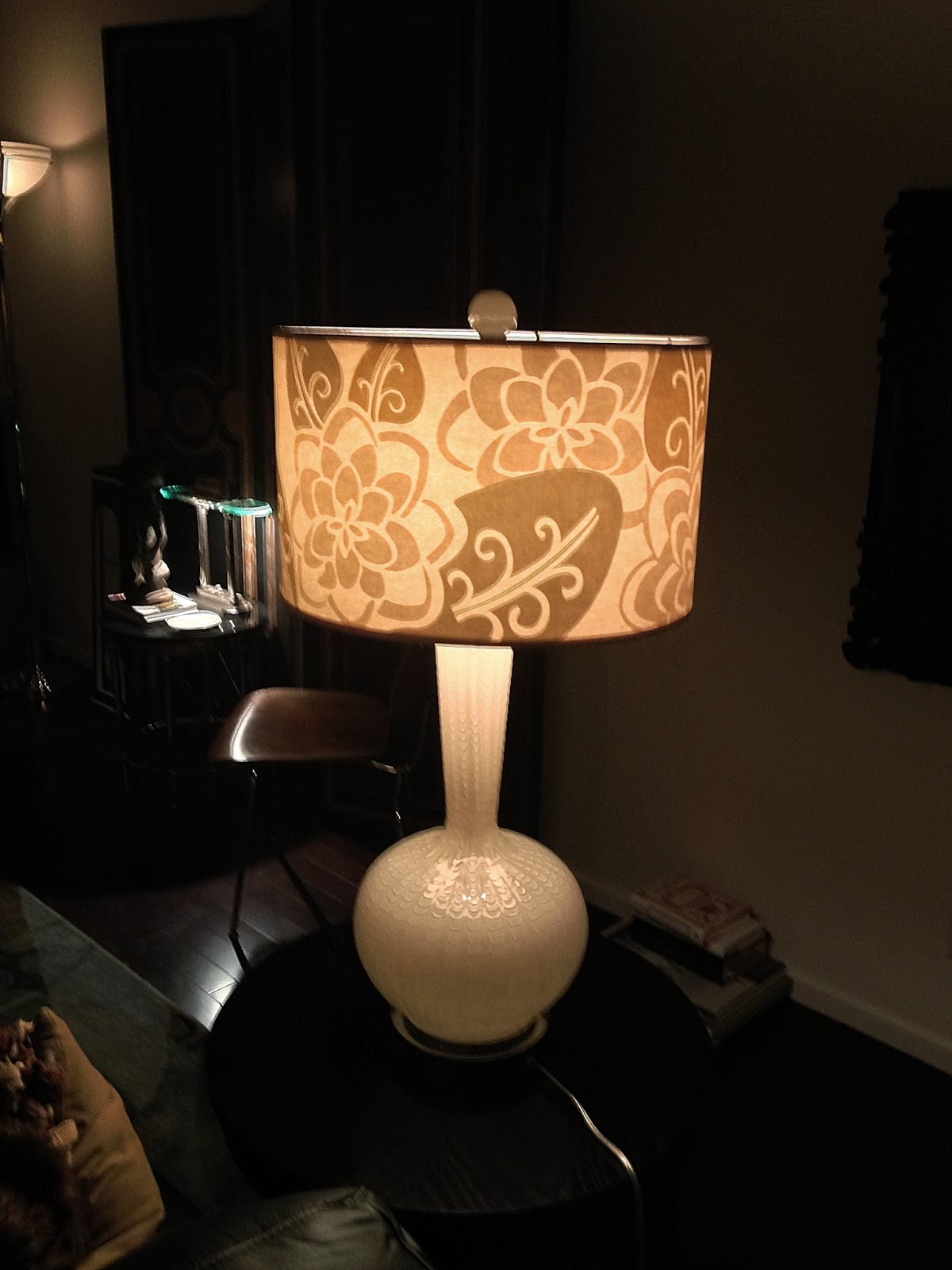 chic-small-brown-lamp-shades-with-pental-pattern-motive-and-unique-white-glass-pole