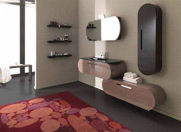 intriguing-bathroom-ideas-with-contemporary-flux-shape-oval-wall-mounted-mirror-polca-dod-carpet-hand-towel-water-tap-dark-grey-tile-floor-washbasin